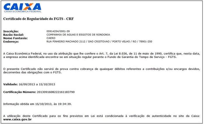 Certidão do FGTS